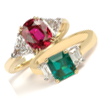 Ruby and Emerald rings.